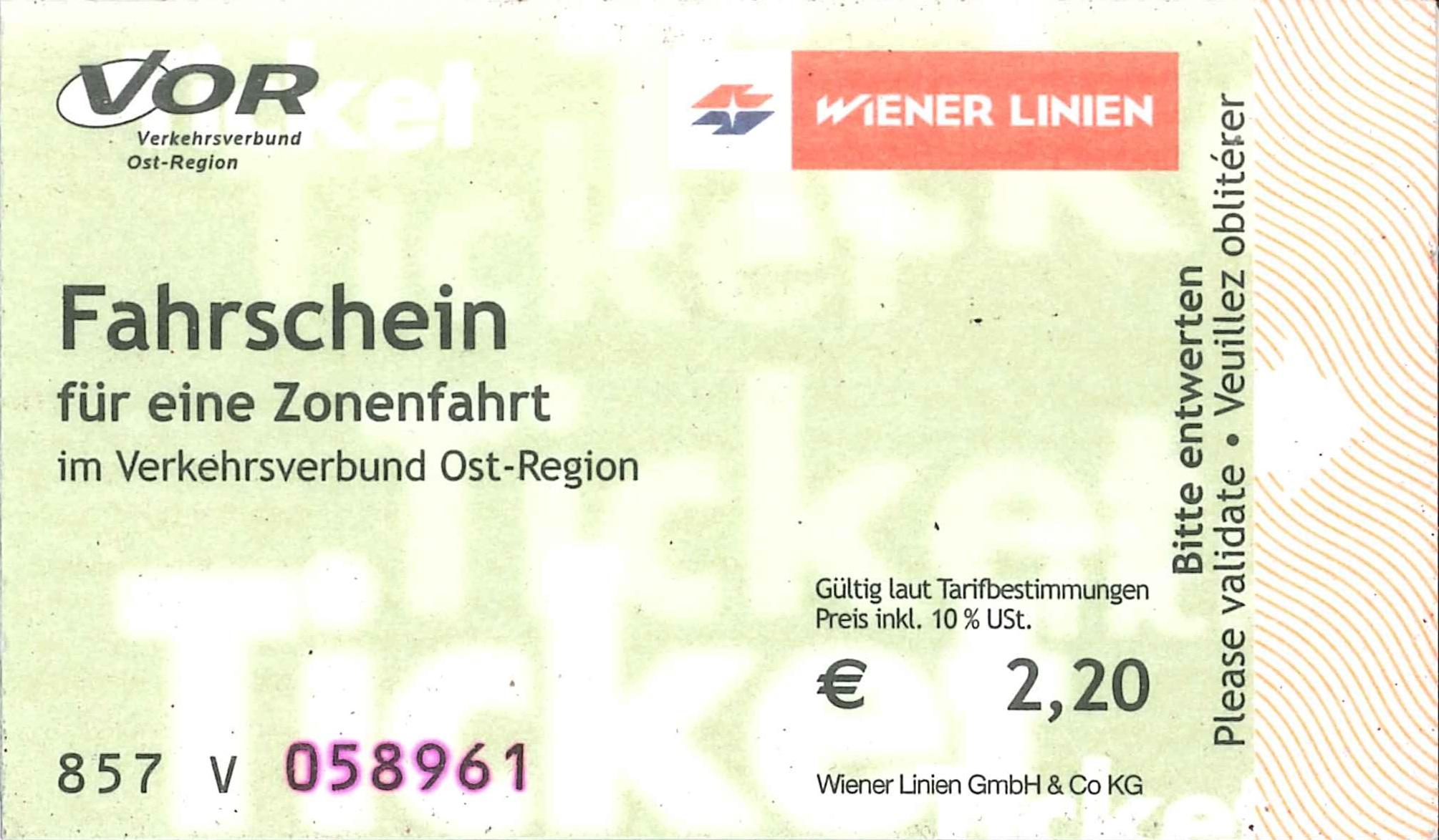 Fahrschein der Wiener Linien