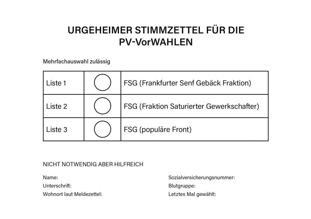 Stimmzettel FSG-Vorwahlen
