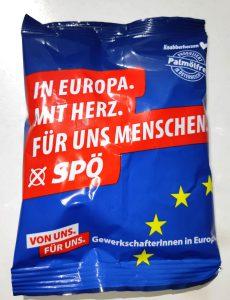 Foto eines Wahlgeschenks mit SPÖ-Logo