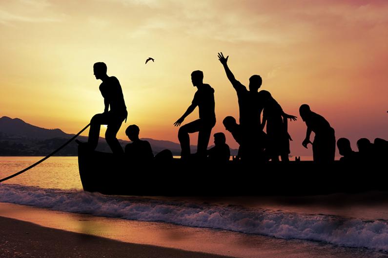 Von wegen Sozialschmarotzer. Flüchtlinge in einem Boot.